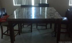 Selling my marble table since I am moving soon. I lowered the price, and it is negotiable. Have to minimize the shipping so I am selling it for $300. Great condition, no scratches on surface. Only few nicks on wooden legs, not noticeable unless really