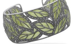 Green epoxy and marcasite in a cut out leaf design cuff bracelet. Cuff measures 31mm., .925 Sterling Silver, Style no. MGLB-21866. Please allow 1 to 2 business week for delivery, via email info@girlsaddleusaltd.com Free Shipping!!!