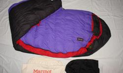 Down sleeping bag. Great for winter camping. Rated down to 15 degrees F. Can be packed up in an extremely small bag. Long version Used maybe a dozen times??? Great condition. Comparable bag retails for over $200.