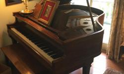 5' mahogany baby grand piano, circa 1920.  Formerly a player but all equipment for that has been removed.  Needs action work and ivory keys repaired (edges slightly chipped but still very playable); sound board is in good condition.