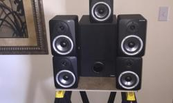 This is a pro level surround system for recording studio/multimedia. Sub with 5 satellite speakers that sounds amazing. In excellent condition with power chord only. Sold as is no warranty no returns. Strictly cash and carry only. Don't waste your time