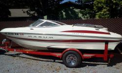 Extremely clean 2003 Maxum 1800SR, 4.3 V6 190 HP Mercruiser. 125 original hours. Always garaged or under canopy.Overserviced for time. Winterized each year. 3 Props. Wakeboard tower comes with, needs to be installed. Better than buying new! Asking