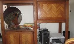 Cabinet - Oak -For TV/Computer with fold down desk and storage. Great condition - just reduced