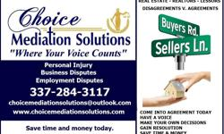 Realtor - Disputes/Conflicts/Contract Agreements or Disagreements  Mediation in Louisiana for Realtors, Home Owners, Lessors, Real Estate Agents  Choice Mediation Solutions is here for all your resolutions to any form of dispute you may have