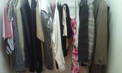 Assortment of Men's suits, sport coats, dress slacks, shirts & Ladies dresses slacks, jackets and winter coats plus ski jackets and pants, ski boots and more. Moving & Must sell; All prices negotiable so make your offer today!