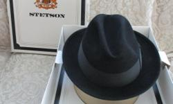 Men's Hats: Dobbs Fifth Avenue New York (Made in USA); Color: Black with Black Band; Style: Rand; Size 7 1/8; Pure Wool; (Like new; Very Gently Used); Internet Used $45-$$60+ New $89-$155  Asking: $30 Vintage 1970's Stetson by John B. Stetson
