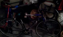 Mens 18speed road bike, Fuji with gel seat, strapped in foot restraints and light frame