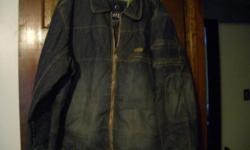 Mens Enyce Denim jacket. The size is XXL. Includes a sheep skin collar which attaches with buttons that is not shown in pictures. Like new in excellent condition. It is cotton lined and has zippered pockets on the sleeve and front. Cash only. First come