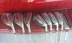 Mens Bazooka QLS hybrid irons set, regular steel shafts, jumbo golf pride grips, new wilson putter. Set consists of 3, 4, 5 hybrids, 6,7,8,9 wide sole irons, and wilson putter. Used multilpe seasons, still in good shape. Give these to