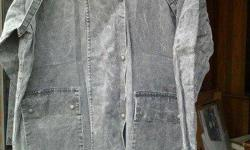 Men's long denim duster for sale. New and in excellent condition. Great for either rain, cold or snow. Call or email if you are interested in purchasing. Looks handsome on any man. SELLING FOR $60.00 - DON'T GET CAUGHT IN THE COLD WITHOUT A GOOD COAT THIS