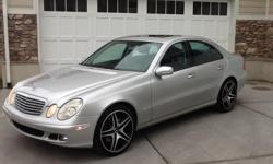 This Mercedes E350 is a 2006 has a V6 with 104,000 miles. It's rear wheel drive. Black leather interior with wood finish trim. It has one service light on which is the SOS/Phone. I have had the following work done on it: New front brakes, all four new
