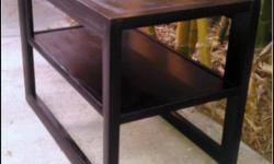 FOR SALE: $65.00 -- A vintage mid-century genuine mahogany two-tiered side table (one table), manufactured by Imperial Furniture Co. in Grand Rapids, MI. Restained in dark mahogany. As with most furniture made at the time, the table is one of the most