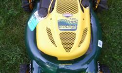 up for sale is a mint yard man. this is the most powerful mower for its size. you can not stall the engine no matter how high the grass is. it has 9 ftb. of torqe and 6.5hp. this mower is a high wheeler and you can mulch or bag your grass. the bag