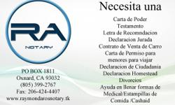Raymond Aros| Notary Mobile Notary Public Services, serving all Ventura and Santa Barbara County areas. $10.00 per signature -Acknowledgement $10.00 per signature- Jurat $10.00 Certified copy of Power of Attorney I can help you fill out Medical and Food