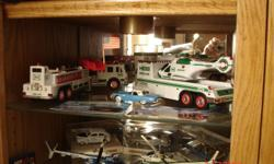 MODEL CARS(BILL ELLIOT COLLECTION MATCH BOX & RACE CAR; TONY STEWERT RACE CAR--ALL OF THESE DIECAST-- HESS COLLECTIONALL IN '90'S AREA(7) --; PENNA STATE POLICE CARS(MATCH BOX) 2 HELICOPTERS --; TRACTOR-TRAILER MODELS (8) PLASTIC; 16 ASSORTED MATCH