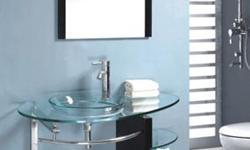"""Measurements: 40"""" x 20.6"""" (Lengthx Depth) 15 mm thick tempered glass. Model # 8814 This beautiful designer sinkvanity is manufactured as a one piece design to deliver the highest in quality and"""