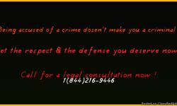 If you have been accused of a crime you are inocent until proven guilty. Get the legal representation & respect you deserve call to speak with one our licensed attorneys for a legal consultation at 1(844)216-9446. Get help now !