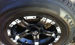 I'm selling a complete set of semi-used tires including rims. I've only used the tires for a month before my car broke down. Look at the close up picture, tread are practically new. Tires are P225/75R15 102T Kumho Tires The rims are Black Matte MB Wheels,