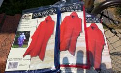 I have brand new rain ponchos never used still in package 100% waterproof ...durable seams..one size fits all..I have different colors ..red,blue,yellow..asking $3.00 each ..if you buy 4 get one free for more info call mark 3174643335