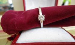 Exact Carat Total Weight: .22 Carats Main Stone: Diamond Metal: White Gold Main Stone Color: White Metal Purity: 14k (Solid, Unplated) Main Stone Treatment: Not Enhanced Ring Size: 6.5 Carat Total Weight: 0.22 This is a great quality diamond! It is a
