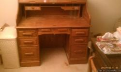 """Beautiful Oak Roll Top Desk with Swivel Chair Perfect Condition 48"""" L x 43"""" H x 27: W Only $275.00 Pickup Only Call Leon - --"""