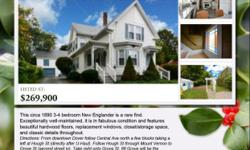 Exceptionally well-maintained circa 1890 3-4 bedroom New Englander is a rare find! Is in fabulous condition and features beautiful hardwood floors, replacement windows, closet/storage space, and classic details throughout. Its spacious kitchen offers room