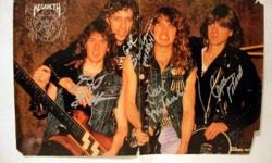 A rare item signed by all members of the original Megadeth including the late Gar Samuelson. This was a pull out section of the band from then German import magazine Metal Hammer. The back of this pullout features stories (in German) about Exodus