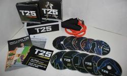 Brand new in unopened box! Focus T25 : Workout Fitness Program 10 DVDs with Guides & Band ALPHA & BETA WORKOUT 1- ALPHA WORKOUT: Cardio / 25 minutes of calorie burning cardio. Speed 1.0 / Burn fat. Fast-paced for fast results. Total Body Circuit /
