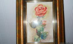 this beautiful ORIGINAL watercolor by VERA SWAIN is called 'rose' it would look great hanging in a bathroom and it measures 9 by 7 inches............................happy shopping :-)