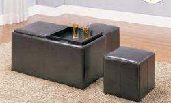 I have a new 5pcs ottoman set includes one storage ottoman 2 TV trays and two side stools for $100.00. Set is left over from an interior designs order. I can be reach via text or phone at 770-912-5316