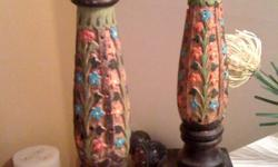 Pair of hand carved wooden candle holders. Nice detailing. Stands @ 14? tall. The price for the pair is only $20.00. If purchased/picked-up between now and 9.30.2011 I will drop the price to $15.00. CASH ONLY AND NO SPAMMERS!! kjrenee2004@aol.com