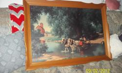 Paul Detlefsen Art for the 1950-1960 would be called Vintage Frame is wood and very nice condition. Picture is very pretty and colors very vibrant.  The picture is of a man and a boy in a wagon fording a stream. The man is letting