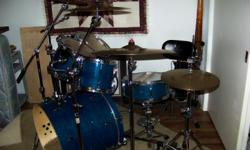 Blue Maple Shells 6 Pc. 5 Cymbals w/only 4 stands. Tuned ACustom cymbals. The 6th piece is a Chrome 10 lug snare w/stand. Pin Strip weatherking heads and a evans bass drum head. Also have a dw9000 double kick. High back swivel throne. Will throw in a very