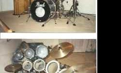 """For Sale: Smokey Chrome Pearl Export Series, 7 piece drum set. Includes 22"""" bass drum, 14"""" snare, 8"""" and 10"""" power toms, 12 inch tom, 14"""" tom, and 16"""" floor tom Also included: Remo Dynamax Roto Toms Comes with 13"""" Ludwig hi-hat and 20"""" ride and 16"""" crash"""