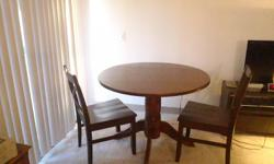 PEDESTAL DROP LEAF DINING TABLE & 2 CHAIRS-DARK TOBACCO  Dimensions: 30 H X 42 w X 42 D  Base dimensions: 27.25 H X 169.0 mm X 169.0 mm dia    (2) DINING CHAIRS-DARK TOBACCO ARMLESS  Diminsions: 35.44 X 18.0