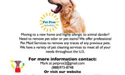Let us get your apt, house, condo or RV clean for you. We can remove pet stains, odor and messes. Our professional cleaning crew is here to help you. We also work with realty companies needing to remove pet odors for homes going on the market to sell or