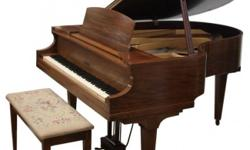 This 1935 Elbridge is the smallest size 88-key Baby Grand piano made by the Winter Piano Co. Measuring only 4?ft.5? front to back and 4?ft.5? wide, it still has a powerful rich tone, with smooth pedal movement, and well-regulated key action. The keys are