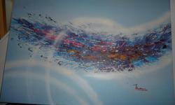 2 CANAS PAINTINGS BY THOMAS DIMENTIONS CAN BE REVERSED TO HANG H 24 IN. X 36 IN. WILL SELL BOTH OR SEPARATE