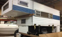 slide in PU camper fits shortbox w/ tailgate dwn or longbox interior redone, DRY, stove/oven, heater, refer, sink, etc.