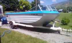 Nice older trihull boat. Full walk through layout,very stable. Volvo six cylinder engine with penta drive. The boat is in nice condition inside and out and starts and runs fine although it has not been used in four years. It has a new axle and newer