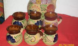 Pitcher set with 6 cup. Designs made with hand. beautiful designs. Made in Mexico. Made you order