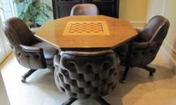 """Solid Oak Game Table.48"""" Octagon,3 in 1 table set: Poker, Chess & Backgammon with 4 large, dark brown, leather like, tufted backchairs. The top of the table has a oak chess board. Flip it over for an oak backgammon"""