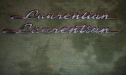 1961 - 1967 Pontiac Laurentian Emblems $150.00pr, 1969 1970 Pontiac Laurentian Emblems $150.00pr, (1) NOS 1975 Pontiac Laurentian Emblem $65.00. Matchbook Covers 1951 1954 1955 1956 1957 $8.00 ea. 1958 Pathfinder Emblems $125.00 pr.