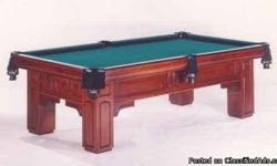 Professional pool table. Gandy Georgian regulation pool table with cues, balls, racks, and more. This table is in excellent condition made of solid maple and is inlaid with abalone and mother of pearl. The 1 inch matched italian slates have no cracks, or