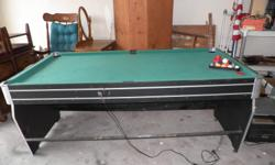 """The following is sold on an """"as is"""" basis & for the following prices. Medium Sized Pool Table/flip Air-Hockey Table ~Just reduced from $100.00 to $50.00(this is a steal at this price).(Has all the Q-balls, triangle rack for balls but"""