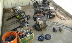 Misc. Chain Saws, all need work, all bars and chains are good, some were runing last year. Lawn mower needs a garb, bed in gread shape. There is also a bucket of coils from many different machines, They should all be good. A bucket of many different carbs