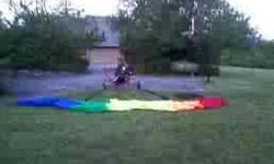 six chuter skyryder I, rotax 503 air-cooled 46 h.p. 2 cycle engine with 97 hours, single carb., powdercoat red frame, 3 blade ivoprop, 26 cell rectangular PD rainbow colored chute with line socks and storage bag, in flight carry bag, mirror, altimeter,