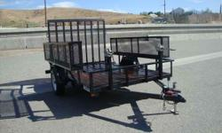 EAGLE TRAILER MFG. 6X10 USED OPEN LANDSCAPE TRAILER FOR SALE 5200LBS ELECTRIC BRAKE AXLE 225/75R15 RADIAL TIRES ALL SQUARE TUBE FRAME RECESSED LIGHTS FOLD UP JACK 5' WIRE MESH FOLD DOWN GATE STABILZER JACKS IN THE REAR CORNERS SIDE STOW BOXES FOR YOUR