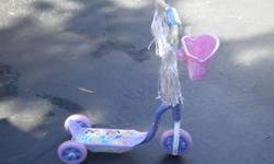 this scooter has only been played with two or three times. It has sat in the garage more than it has been played with. It even comes with a basket on front of it so your babydolls can ride to.