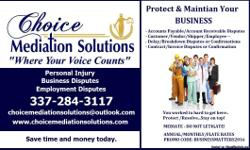 Choice Mediation Solutions has an elite top of the line Business Service Plan that allows you to not only resolve matters as they come about but to protect you from them from day one.  Think of going into an agreement with a Vendor, Installer,